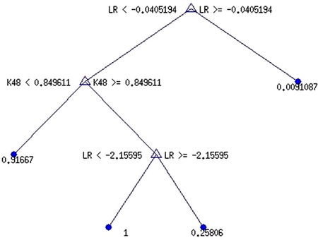 Оптимальне дерево рішень з 4 термінальними вузлами (ДР-4тв) для прогнозування DF-1